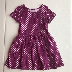 CHILDRENS PLACE Purple Heart polka dot dress 5/6